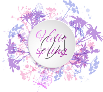 Abstract vector floral background with flowers and butterflies. Round banner with flowers.