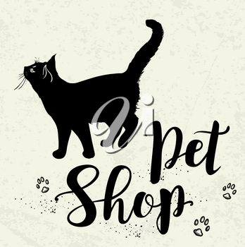 Background with black cat and lettering Pet shop. Hand drawn vector illustration.