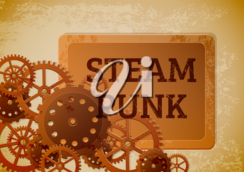 Abstract industrial background with gears  in the style of steampunk. Vector illustration.