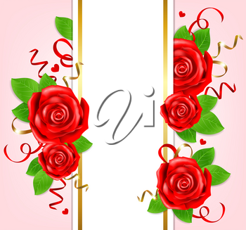 Decorative romantic vertical banner for Valentine's day with red roses and green leaves