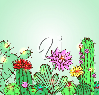 Cactus on a green background. Hand drawn vector illustration.