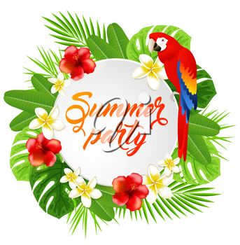 Summer background with red tropical flowers, green palm leaves and parrot. Summer party lettering.