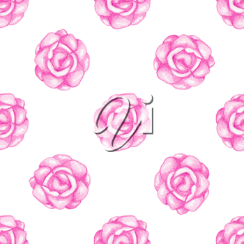 Hand drawn watercolor seamless pattern with pink roses on a white background