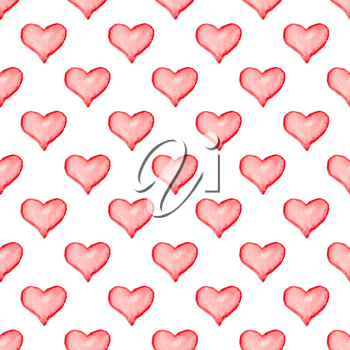 Hand drawn Valentine watercolor seamless pattern with red hearts