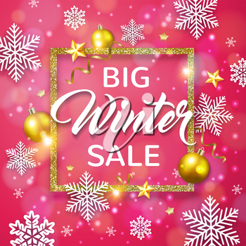 Decorative vector glittering winter frame with white snowflakes and golden balls on a pink background. Design for seasonal Christmas sale