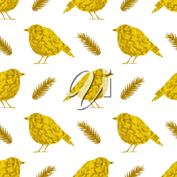 Festive seamless pattern with golden birds on a white background. Vector illustration.