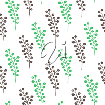 Hand drawn doodle green spring floral seamless pattern with flowers. Decorative vector background