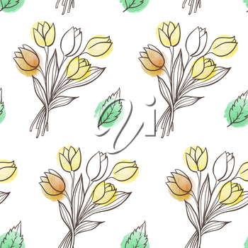 Hand drawn doodle spring floral seamless pattern with leaves and tulip flowers. Decorative vector background