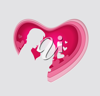 Vector cut out of paper pink heart with couple in love. Romantic Valentine background with man and woman. Holiday greeting card