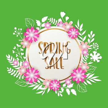 Floral background for seasonal spring sale with paper leaves and pink flowers. Vector illustration