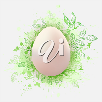 Decorative Easter greeting card with egg, green leaves and bird. Festive background. Vector illustration. Holiday greeting card.