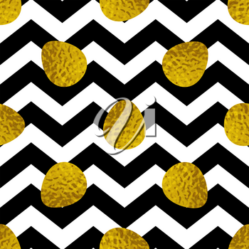 Easter seamless pattern with golden eggs on a black striped background. Vector illustration.