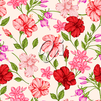 Tropical seamless pattern with red and pink flowers. Hand drawn vintage vector background.