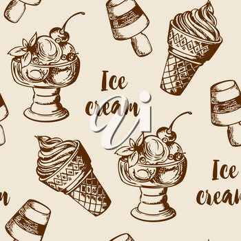 Vintage summer seamless pattern with different ice cream. Hand drawn vector background