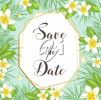 Tropical summer background with green palm leaves and flowers. Vector illustration