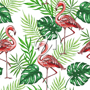 Summer tropical seamless pattern with green palm leaves and pink flamingo. Hand drawn vector background