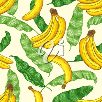Hand drawn tropical seamless pattern with yellow bananas and green banana leaves. Vector background