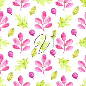 Watercolor autumn floral seamless pattern with red and green leaves. Hand drawn nature background
