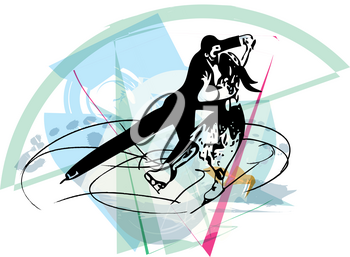 abstract illustration of couple ice skaters skating at colorful sports arena