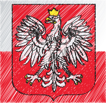 Polan coat of arms, vector illustration
