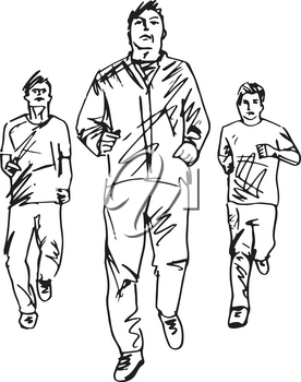 Fitness men and gymnastic exercises. Hand drawn vector illustration, sketch