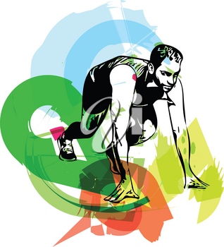 man ready to run on the track vector illustration