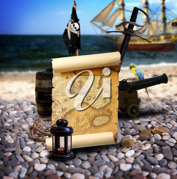 Pirate ambiance with map, cannon, treasure, lantern, and parrot on the bank of an empty pebble beach. In the background is pirate schooner.