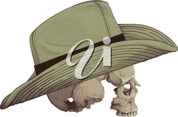 human skull in profile without mandible clad cowboy hat drawn as engraving isolated on white background