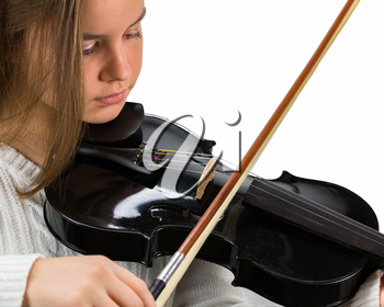 Girl Holding Bow and Black Violin