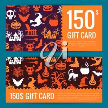 Vector halloween gift card or voucher templates with witches, pumpkins, ghosts, spiders silhouettes with place for text illustration