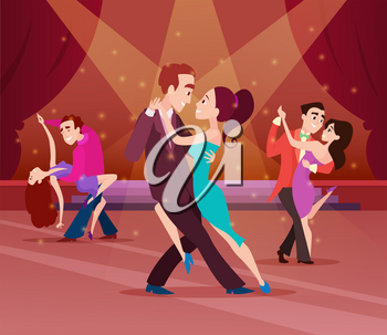 Couples on dance floor. Cartoon characters dancing. People romantic dancer tango. Vector illustration