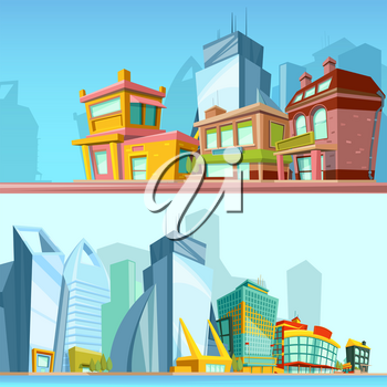 Horizontal banners with urban streets and modern buildings. Illustrations in cartoon style. Town with colored building, landscape urban architecture vector