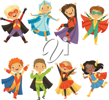 Kids in superhero costumes. Funny characters isolate on white background. Comic character kids in superhero costume, vector illustration