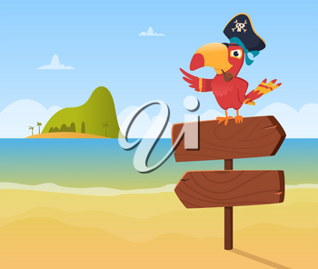 Pirate parrot. Funny colored bird arara sitting on wood sign direction vector background illustration in cartoon style. Colored pirate parrot, mascot character piracy