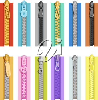 Colored zippers. Tools for clothes. Vector zip close, fastener lock for textile illusstration