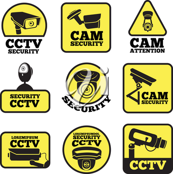 CCTV labels. Vector illustrations with security cameras symbols. Camera surveillance for security and safety protection,