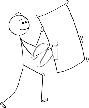 Cartoon stick man drawing conceptual illustration of happy businessman carrying big empty or blank paper sheet.