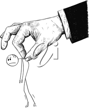 Cartoon stick man drawing conceptual illustration of businessman moved or manipulated by giant hand, possibly boss, manager or politician. Concept of manipulation, dominance and supremacy.
