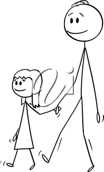 Vector cartoon stick figure drawing conceptual illustration of man o father or dad together with small girl or daughter. They are walking and holding hands.