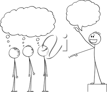 Vector cartoon stick figure drawing conceptual illustration of enthusiastic man, business leader or boss or manager talking to group or team of employee or crowd. They are thinking something about him.