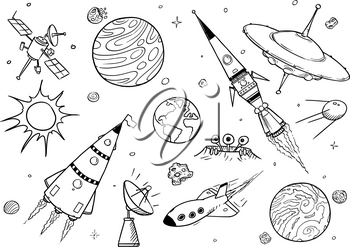 Set of cartoon vector drawings of space props like rockets, alien space ships or spaceships, UFO, planets and satellites.