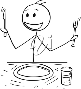 Cartoon stick drawing illustration of enthusiastic hungry man holding fork and knife sitting at table and waiting for food.