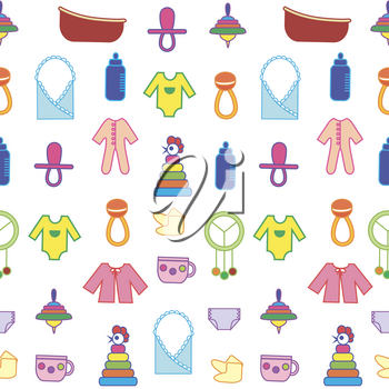 Toys background. Colorful seamless pattern. Can be used for children cloth, website, typography