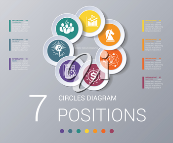 Circles diagram, data Elements For Template infographics 7 positions. Coloured circles are located on a circle with shade. Concept of successful start of project and realization