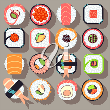 Sushi japanese cuisine food flat vector icons. Sushi food and roll sushi icon seafood illustration