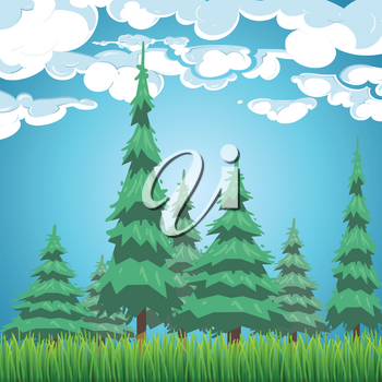Spruce forest landscape. Nature view with fir trees, grass and clouds vector illustration