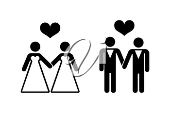 Gay wedding icons over white. Relationship love couple. Vector illustration