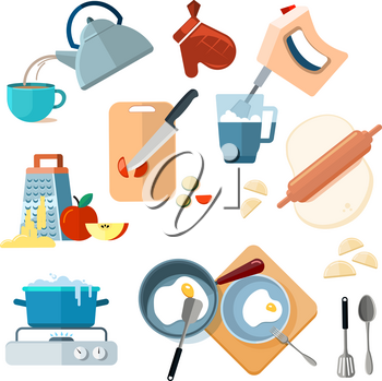 Kitchen cooking processes, grated vegetables, mixer, fried, dough, boil, grinding. Various actions to prepare meals vector, prepare lunch and breakfast illustration