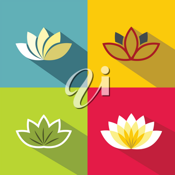 Color flat flowers with dark long shadow on color background. Set of colorful flowers. Vector illustration