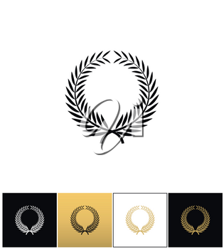 Greek prize wreath with laurel leaves vector icon. Greek leaves laurel prize wreath pictograph on black, white and gold backgrounds